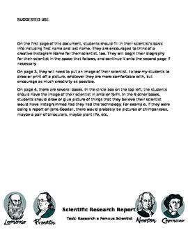 Scientist Report- Instagram... What if Scientists had Social Media?