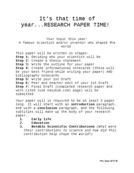 Scientist and Inventor Research Paper