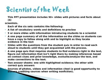 Text Dependent Questions Close Reading: Scientist of the Week