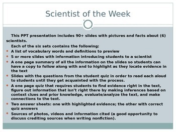 Common Core Text Dependent Questions Close Reading: Scientist of the Week 2