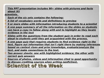 Common Core Text Dependent Questions Close Reading: Scient