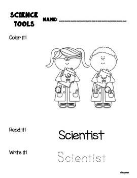 Scientist's Tools Vocabulary Booklet