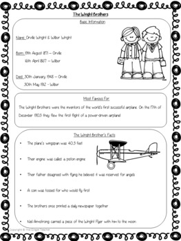 Scientists and Inventors   -  The Wright Brothers PowerPoint and Worksheets
