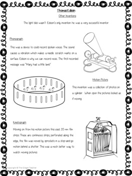 Scientists and Inventors   -  Thomas Edison PowerPoint and Worksheets