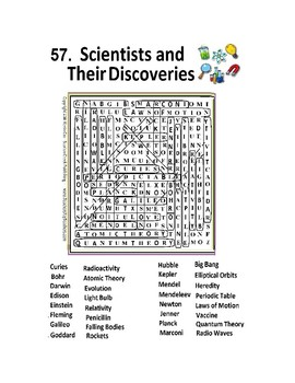 Scientists and Their Discoveries Word Search Wordsearch