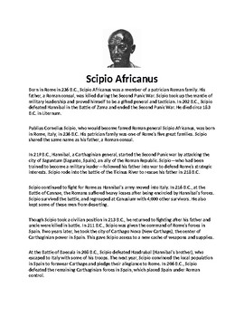 Scipio Africanus Biography Article and Assignment