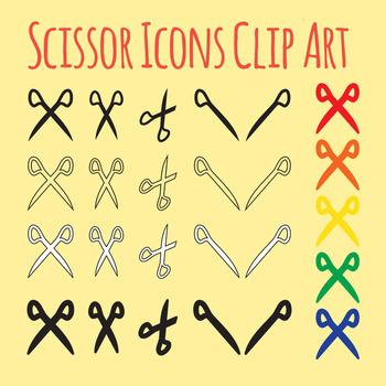 Scissor Icons Clip Art Set for Commercial Use
