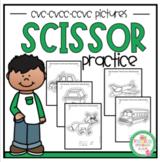 Scissor Practice Using CVC-CVCC-CCVC Pictures
