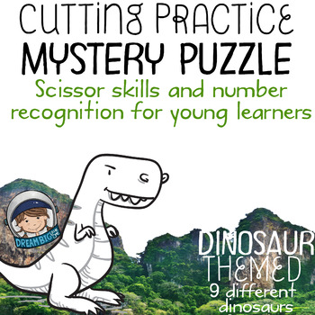 Fine Motor Cutting Activity and Number Recognition Puzzle, Dinosaurs Themed