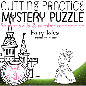 Fine Motor Cutting Activity and Number Recognition Puzzle, Fairy Tales