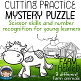 Fine Motor Cutting Activity and Number Recognition Puzzle, Farm Themed