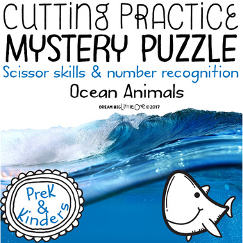 Fine Motor Cutting Activity and Number Recognition Puzzle, Ocean Animals