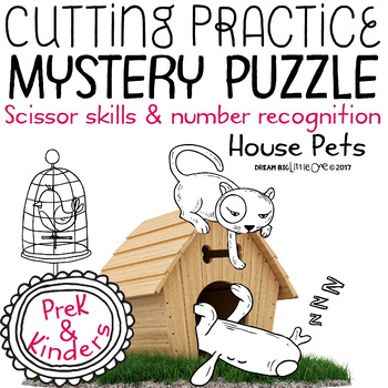 Fine Motor Cutting Activity and Number Recognition Puzzle, Pets