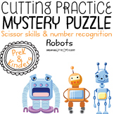 Fine Motor Cutting Activity and Number Recognition Puzzle, Robots