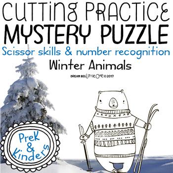Scissor Skills – Mystery Puzzle, Winter Animals