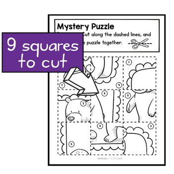Fine Motor Cutting Activity and Number Recognition Puzzle, Woodland Animals