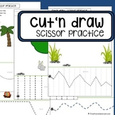"Scissor skills cutting practice worksheets ""Cut'n draw"" for Preschool & OT"