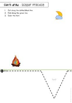 "Scissor skills cutting practice worksheets ""Cut'n draw"" for Preschool & OT"