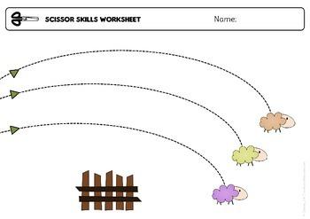 "Scissor skills cutting practice worksheets ""happy sheep"" for Preschool & OT"