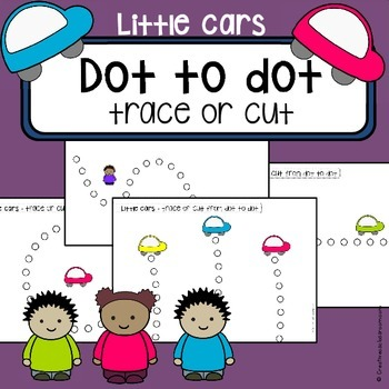 Scissor cutting skills and tracing practice - Little Cars dot to dot worksheets