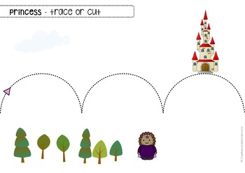 Scissor cutting skills and tracing practice - Princess Fairytale - Sheets for OT