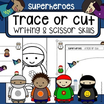 Scissor cutting skills and tracing practice - Superheroes - Sheets for OT