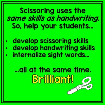 Scissoring Dolch Pre-Primer Sight Words