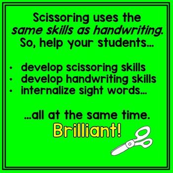 Scissoring Dolch Primer Sight Words