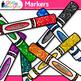 Marker Clip Art {Rainbow Glitter Back to School Supplies for Teachers}