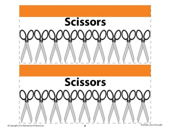 Scissors Labeling Cards for Bins or Labels & Classroom Organization