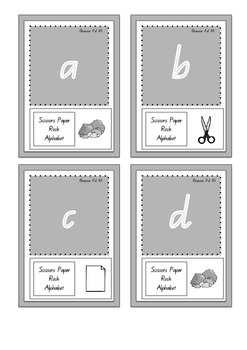 Scissors Paper Rock Lowercase Letters