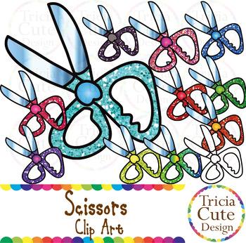 Scissors School Supplies Clip Art Glitter By Tricia Cute Design
