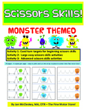 Scissors Skills:  Monster Themed Dotted Cutting Activities
