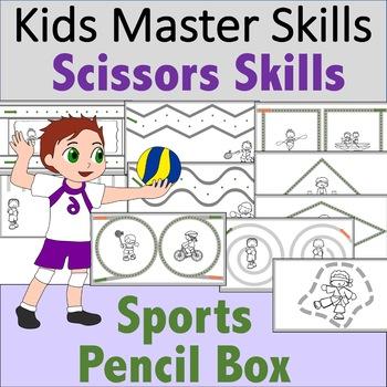 Scissors Skills - Sports-Themed Pencil Box Activties