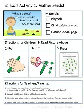 Preschool Scissors Skills and Science - Book 1 - ALL ABOUT SEEDS