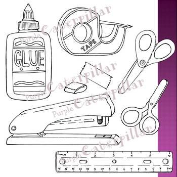Scissors, Stapler, Glue, Ruler, and Tape Clip Art  #JulyTptClipLove