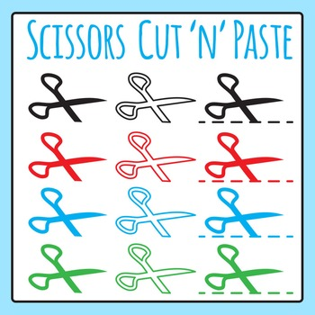 Scissors Symbols - Cut and Paste Icons Clip Art for Commercial Use