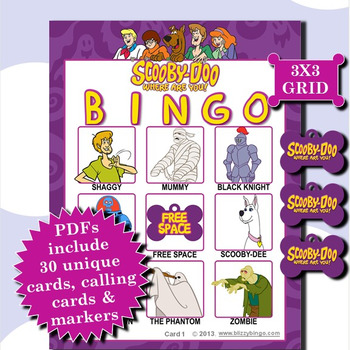 Scooby-Doo 3x3 Bingo 30 Cards