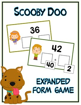 Scooby Doo Expanded Form Math File Folder Game Place Value Tens & Ones