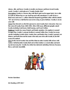 Scooby Doo - lesson - information facts - Birthday September 13th