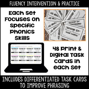 """Scoop It"" Fluency Phrasing Task Card BUNDLE"