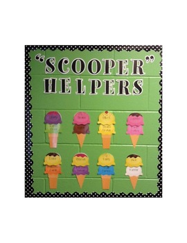 "Classroom Jobs ""Scooper Helpers"" Ice Cream Cones"