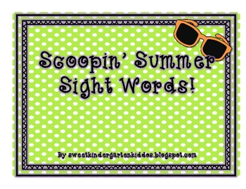 Scoopin' Summer Sight Words
