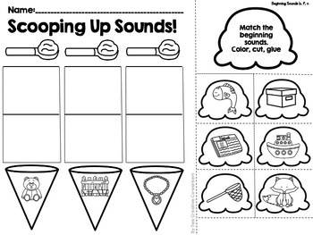 Beginning Sounds - Cut and Glue to Match Initial Sounds {Ice Cream Theme}