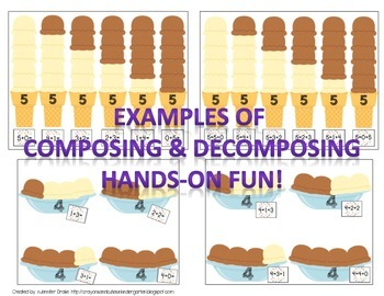 Scoopin' Up!  Compose & Decompose Numbers 2-10!  Ice Cream Theme Center & More!