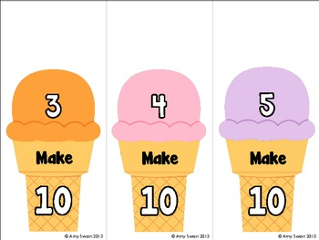 Scoopin' Up - Making Ten & Teens - CCSS DIFFERENTIATED Math Station - Ice Cream