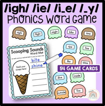 Scooping Sounds Game -  {igh} {ie} {i_e} { _y} - Long i Sound Word Work Activity
