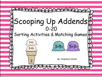 Addition Concepts Scooping Up Addends 0-20 GO MATH! Sorting Activities and Games