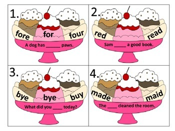 Homophones--activities, task cards, and worksheets