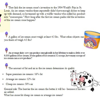Scooping Up Math- End Of Year Ice Cream Fact Math Questions